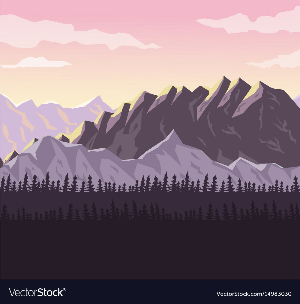 Realistic sunset landscape background of snowy vector image