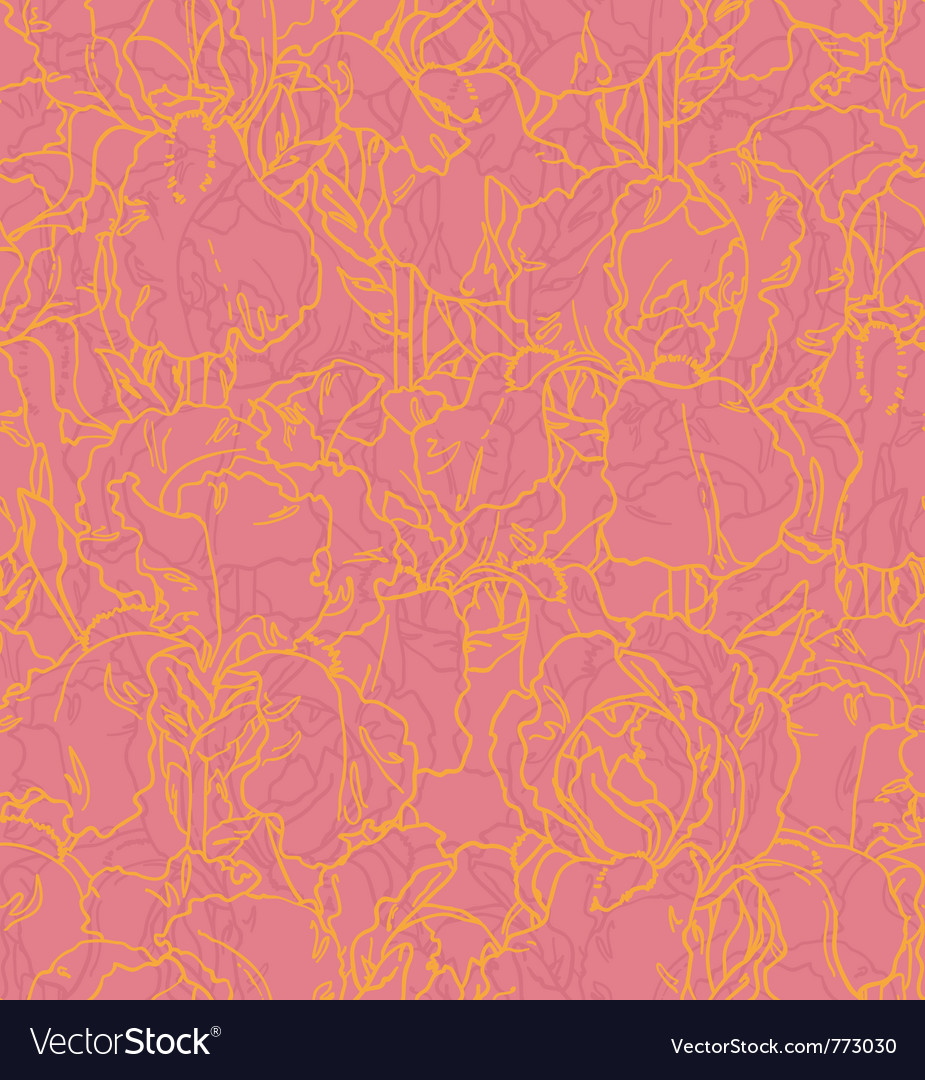 Seamless pattern with outlined irises