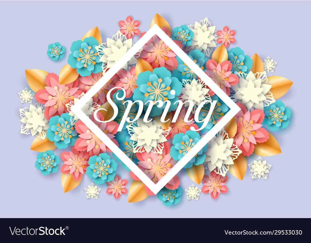 Spring seasonal floral poster paper cut