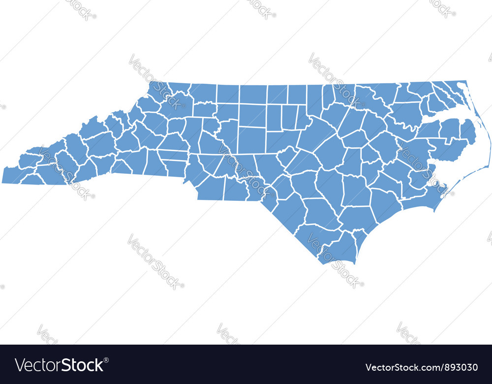 State Map Of North Carolina By Counties Royalty Free Vector