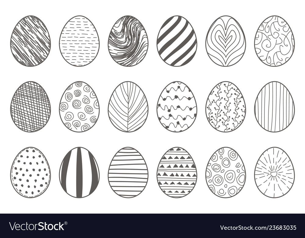 Black lineart hand drawn easter eggs decorative