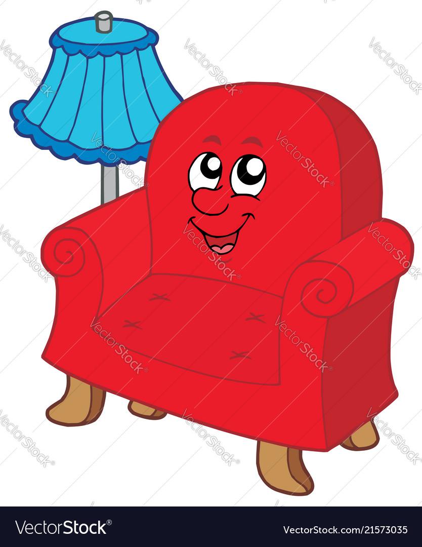 Cartoon armchair with lamp