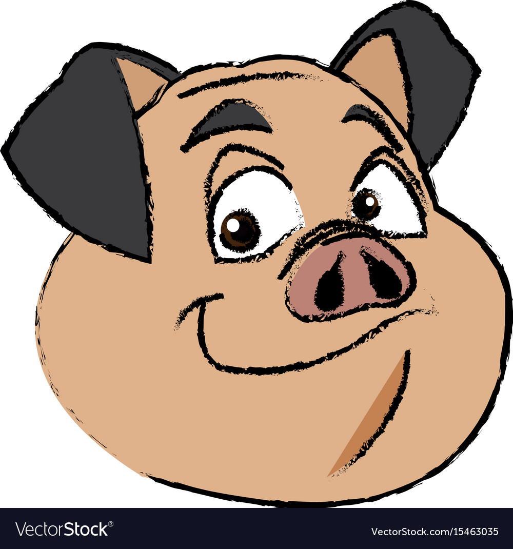 Cute pig face funny piggy smiling vector image