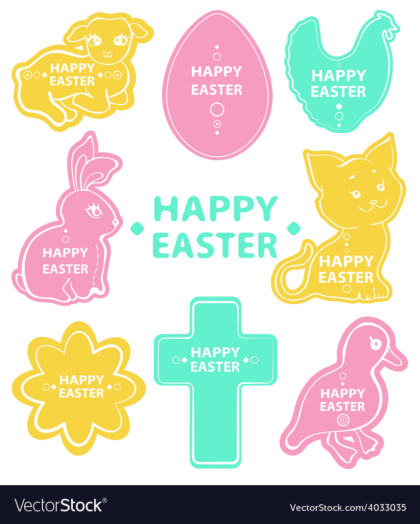 Easter sticker collection cute animals