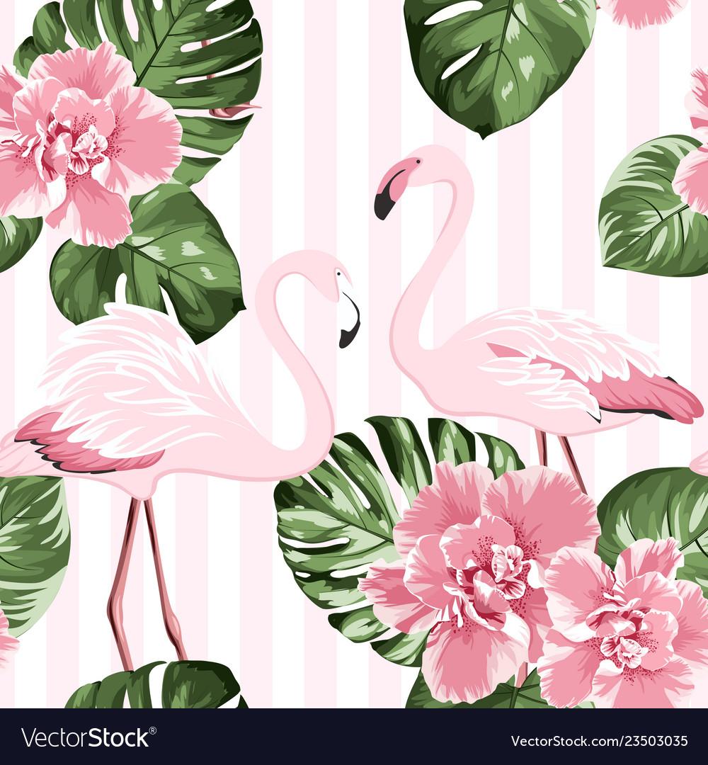 Exotic pink flamingo birds couple bright camelia