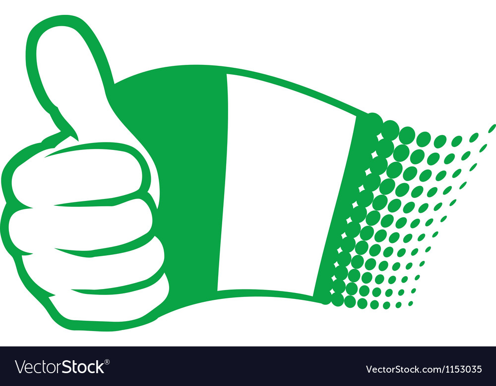 Flag of nigeria and hand showing thumbs up