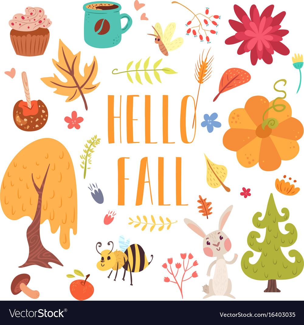 Hello Fall Cute Cartoon Autumn Set Royalty Free Vector Image