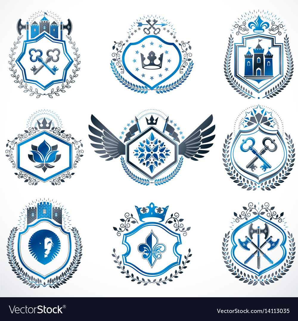 Heraldic decorative emblems made with royal