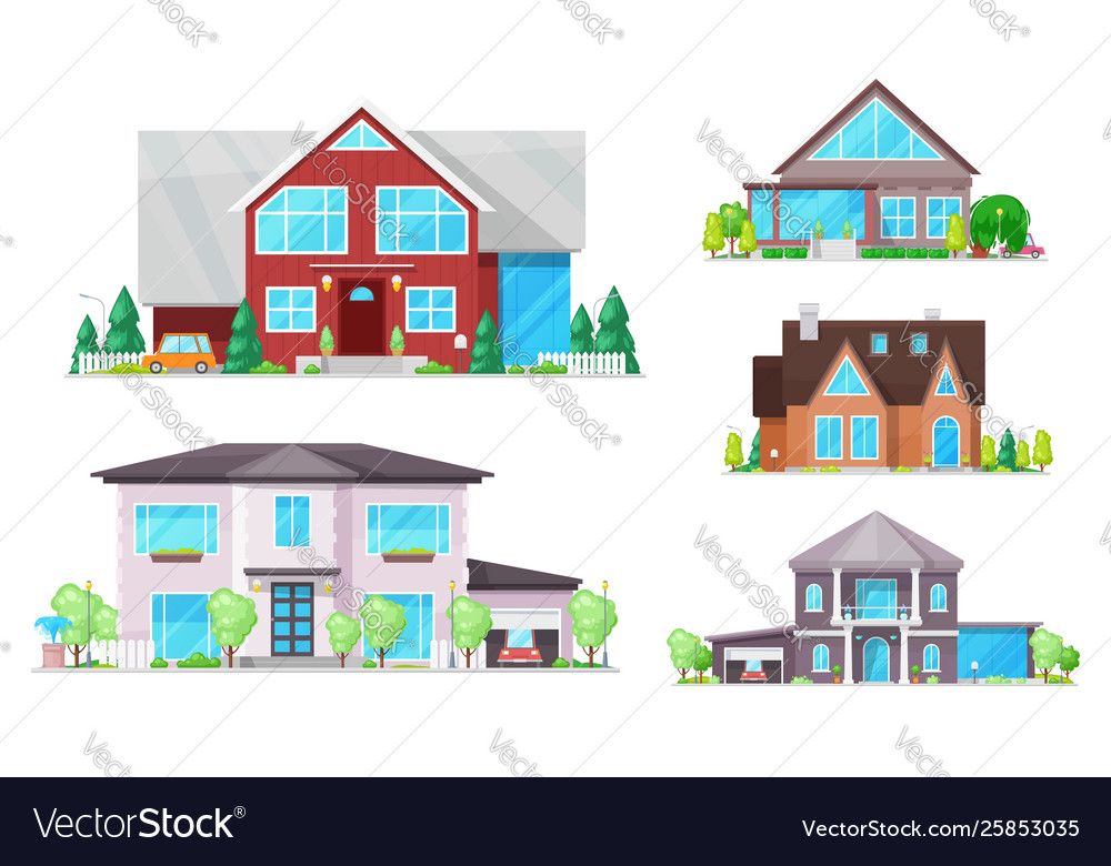 House home cottage buildings with roofs windows