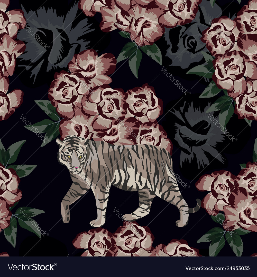 Moonlight chinese tiger on rose background