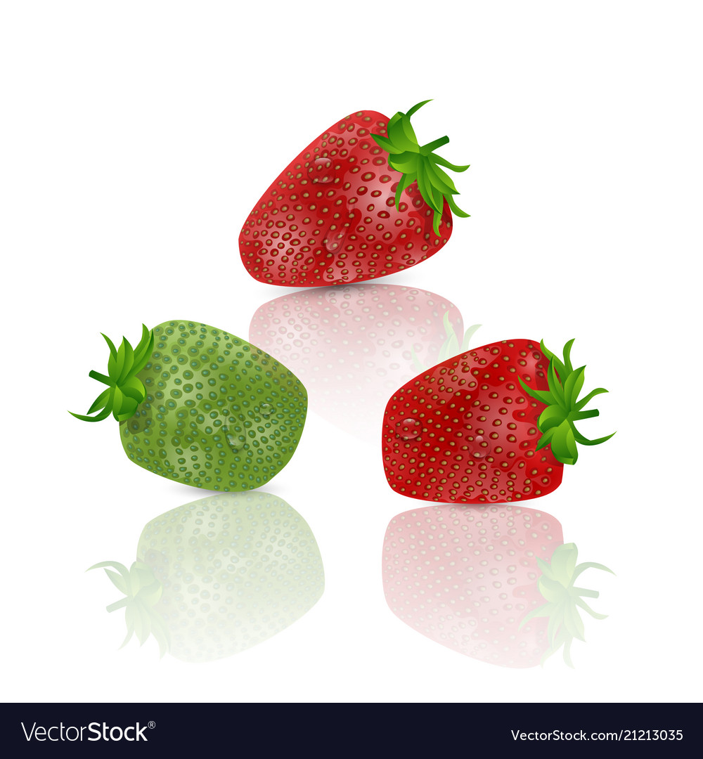 Set of realistic sweet and fresh strawberries