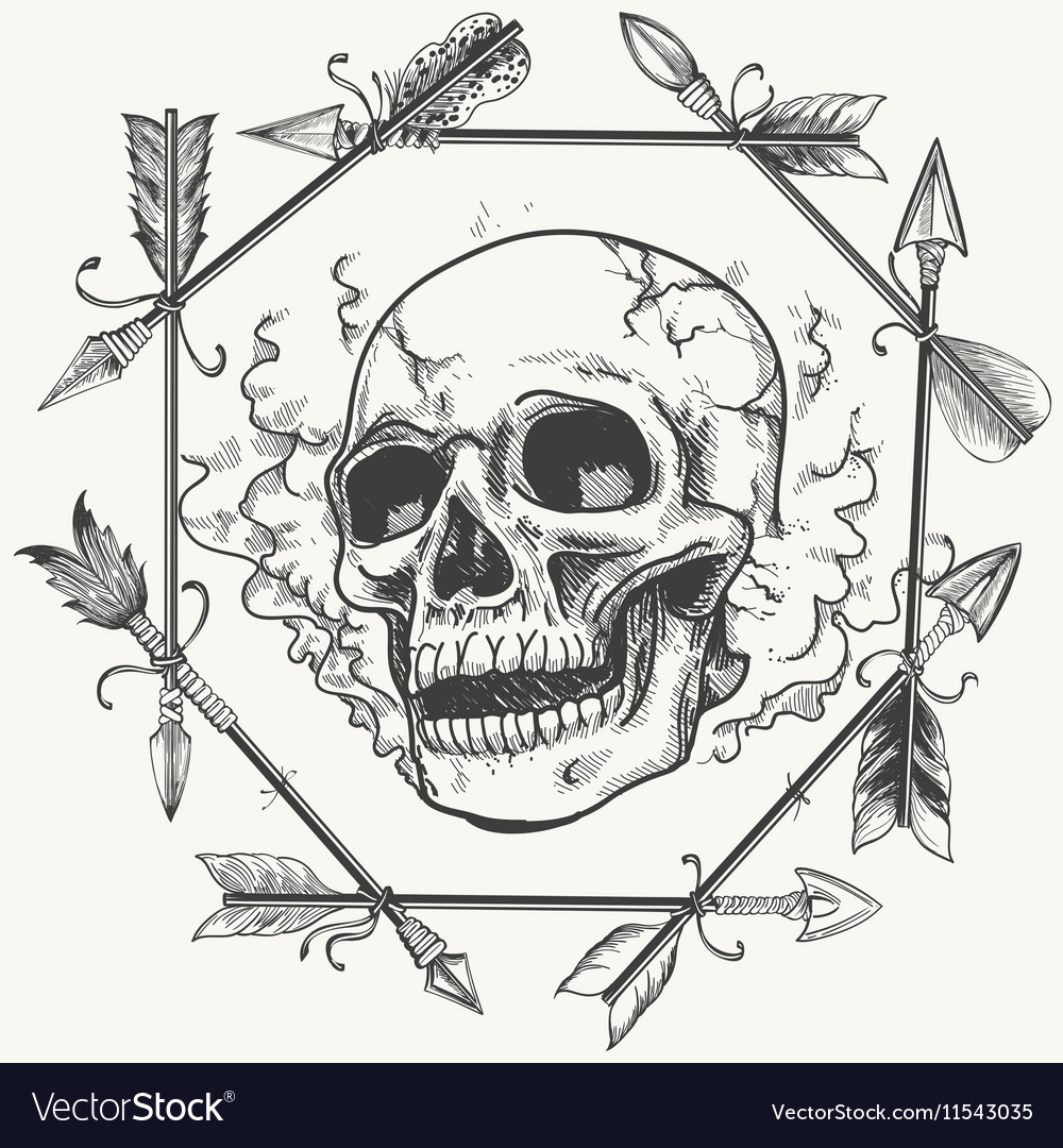 Sketch smoke skull and arrows frame Royalty Free Vector