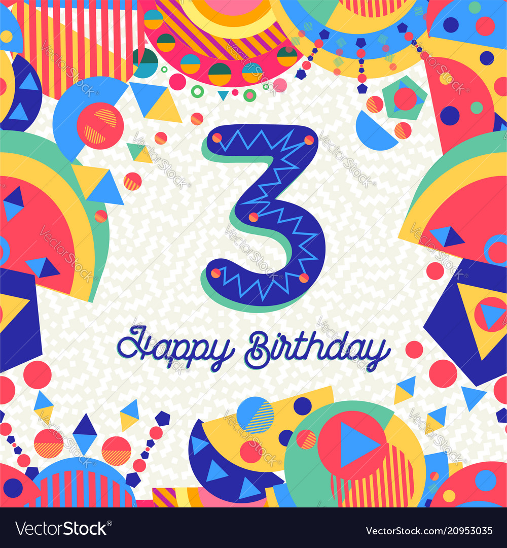 Three 3 year birthday party greeting card number
