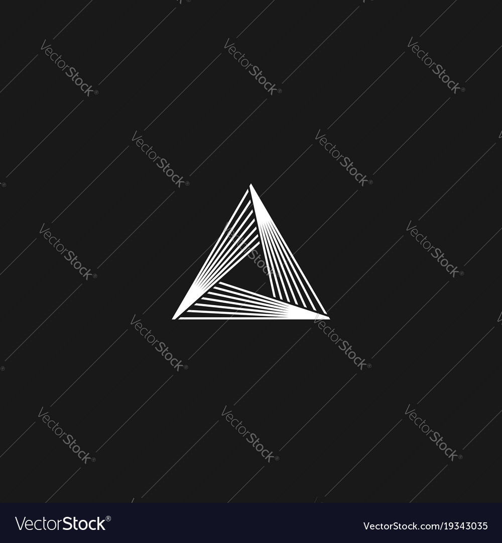 Triangle logo linear infinity geometric pyramid vector image