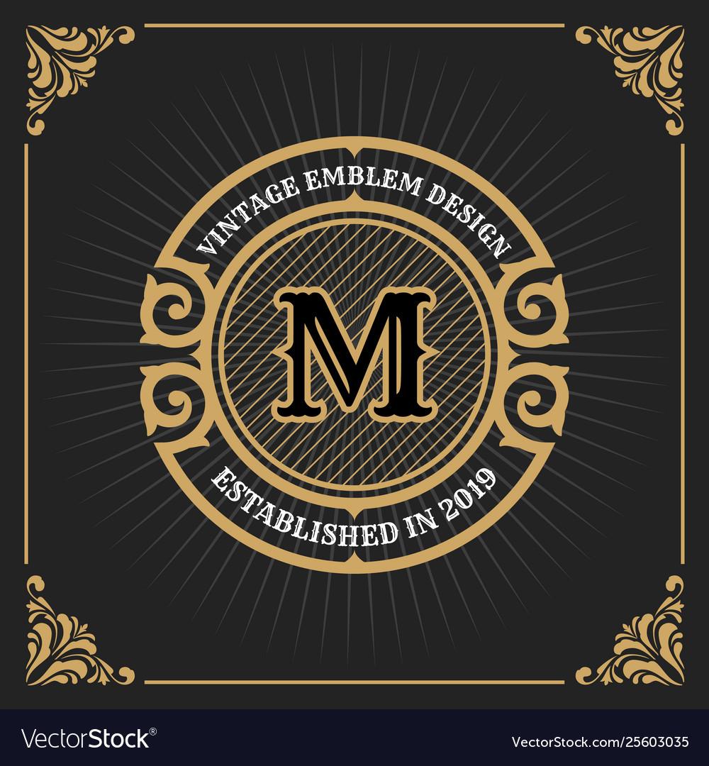 Vintage luxury banner template design for label