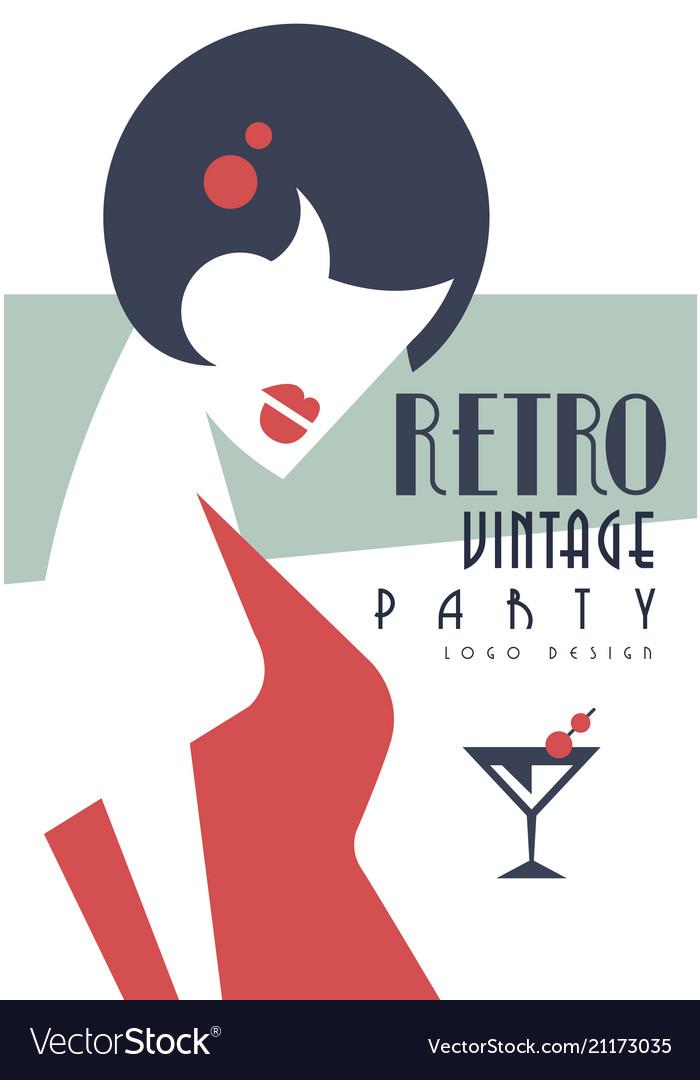 Vintage party logo design embelm with smart