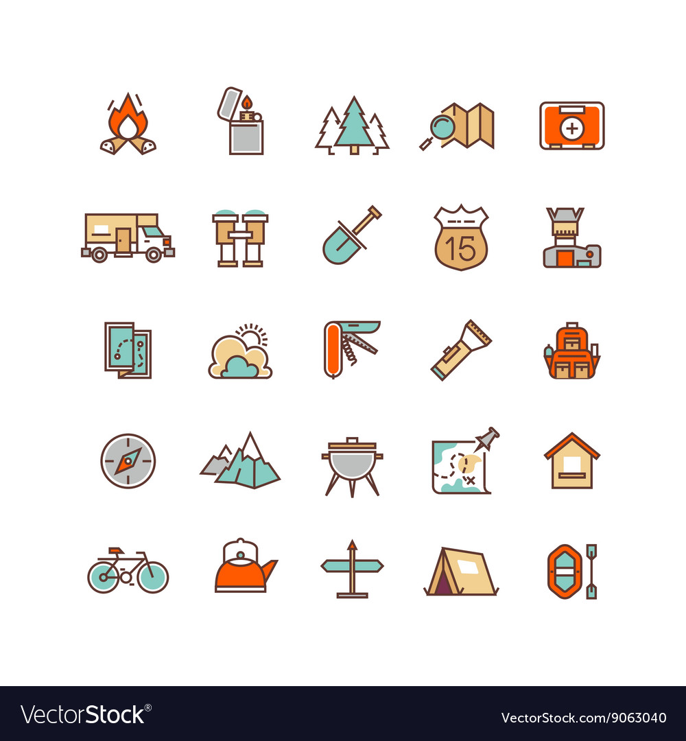 Camping and hiking flat icons for