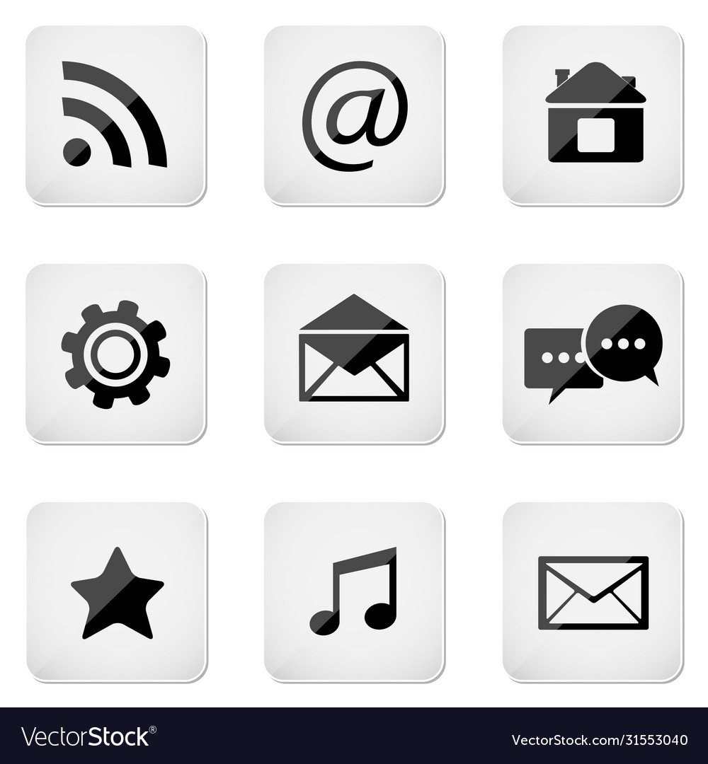 Contact buttons set e-mail icons
