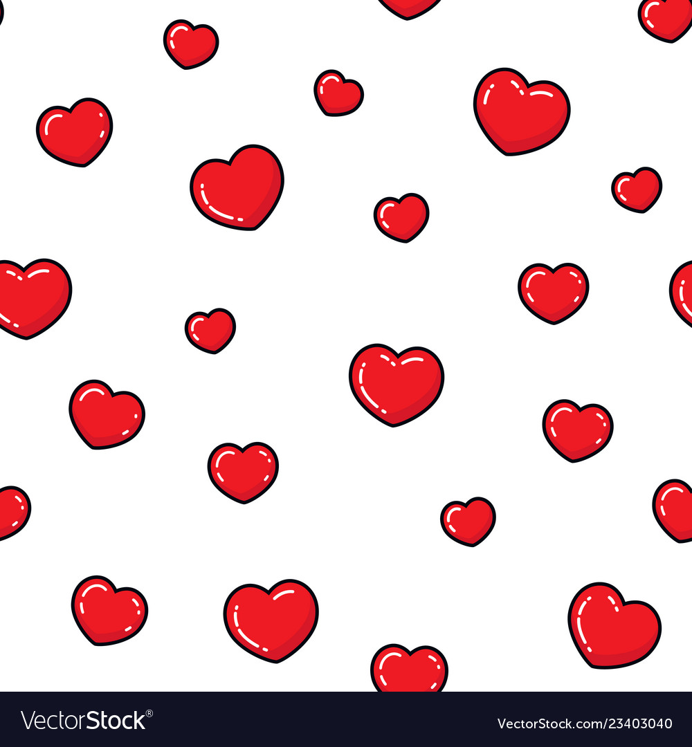 Flat hearts seamless pattern love card