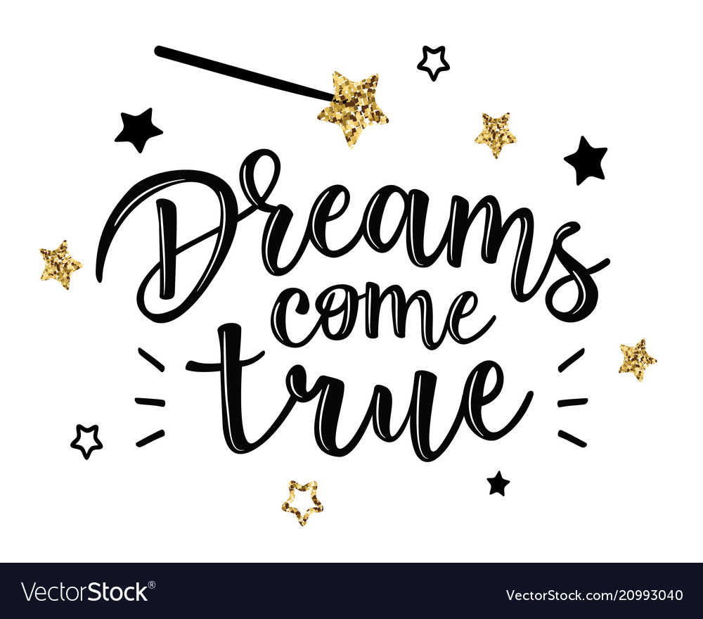 Greeting cards with dreams come true inscription