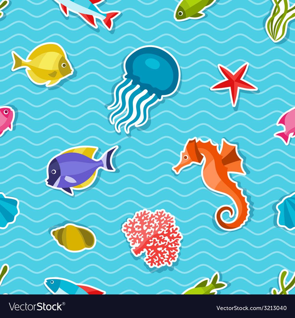 Marine life sticker seamless pattern with sea