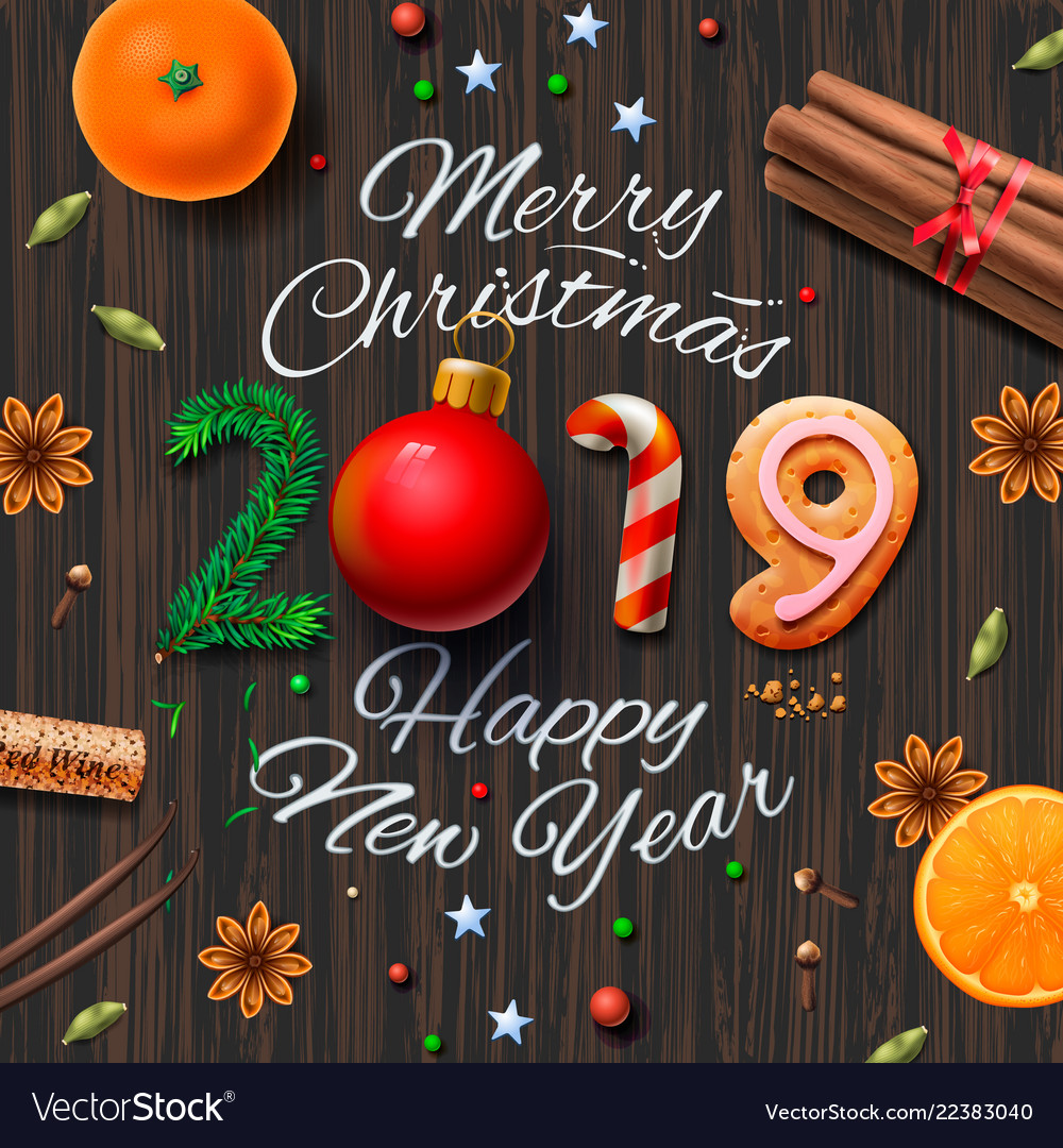 Merry Christmas And New Year 2019 Merry christmas happy new year 2019 vintage Vector Image