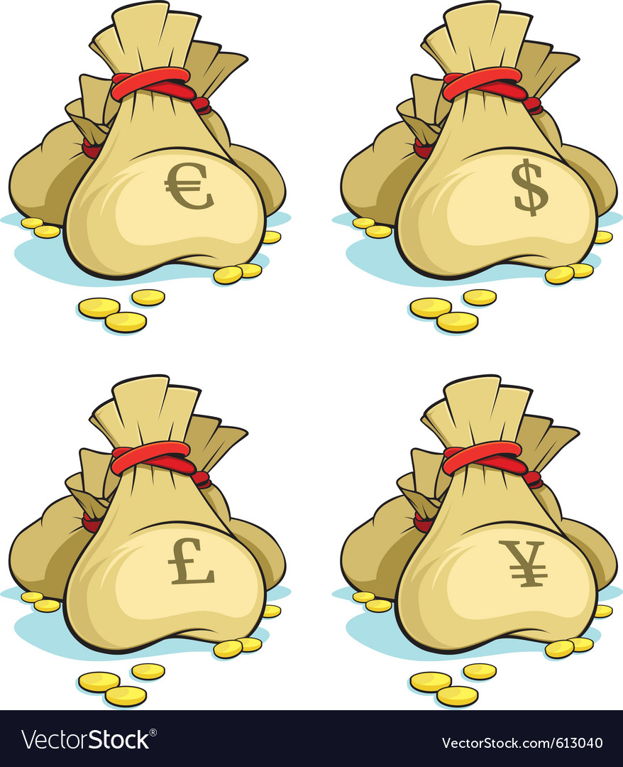 Set of money bags isolated vector image