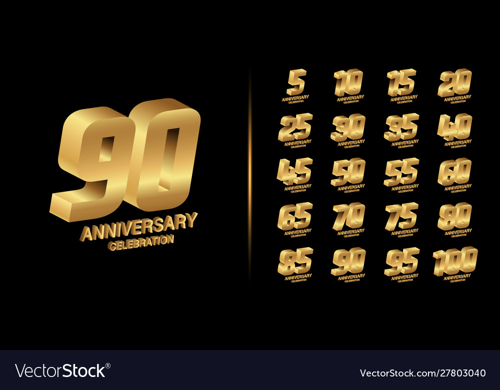 Set trendy anniversary logotype