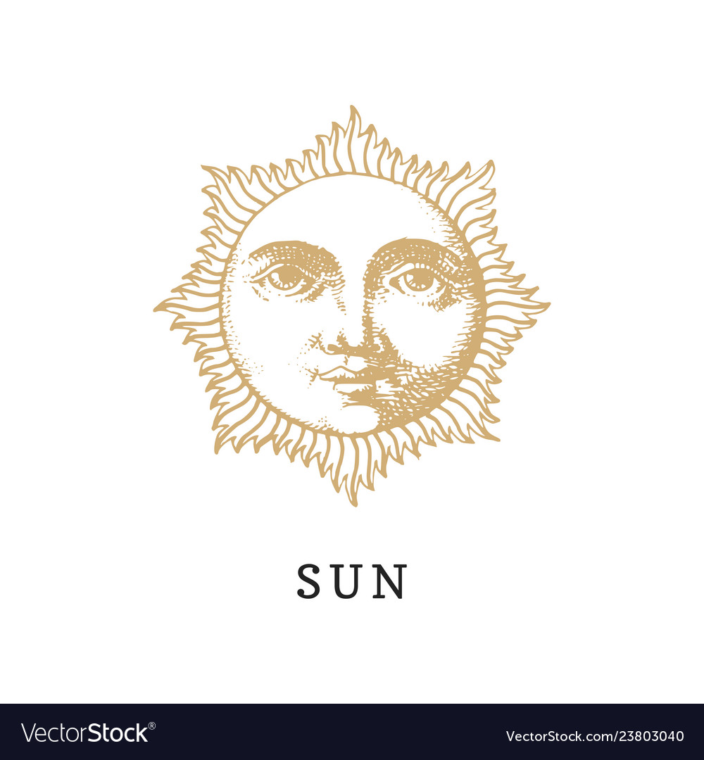The sun hand drawn in engraving style