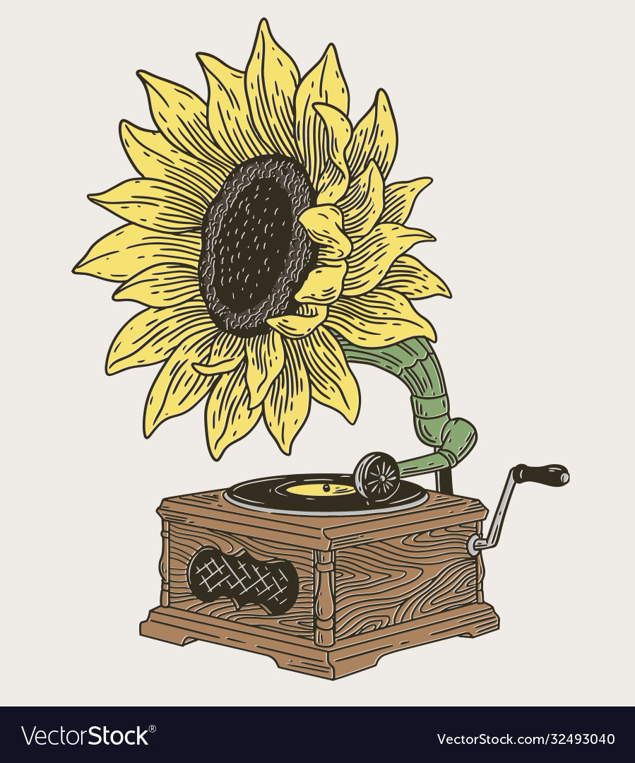 Vintage phonograph with sunflower