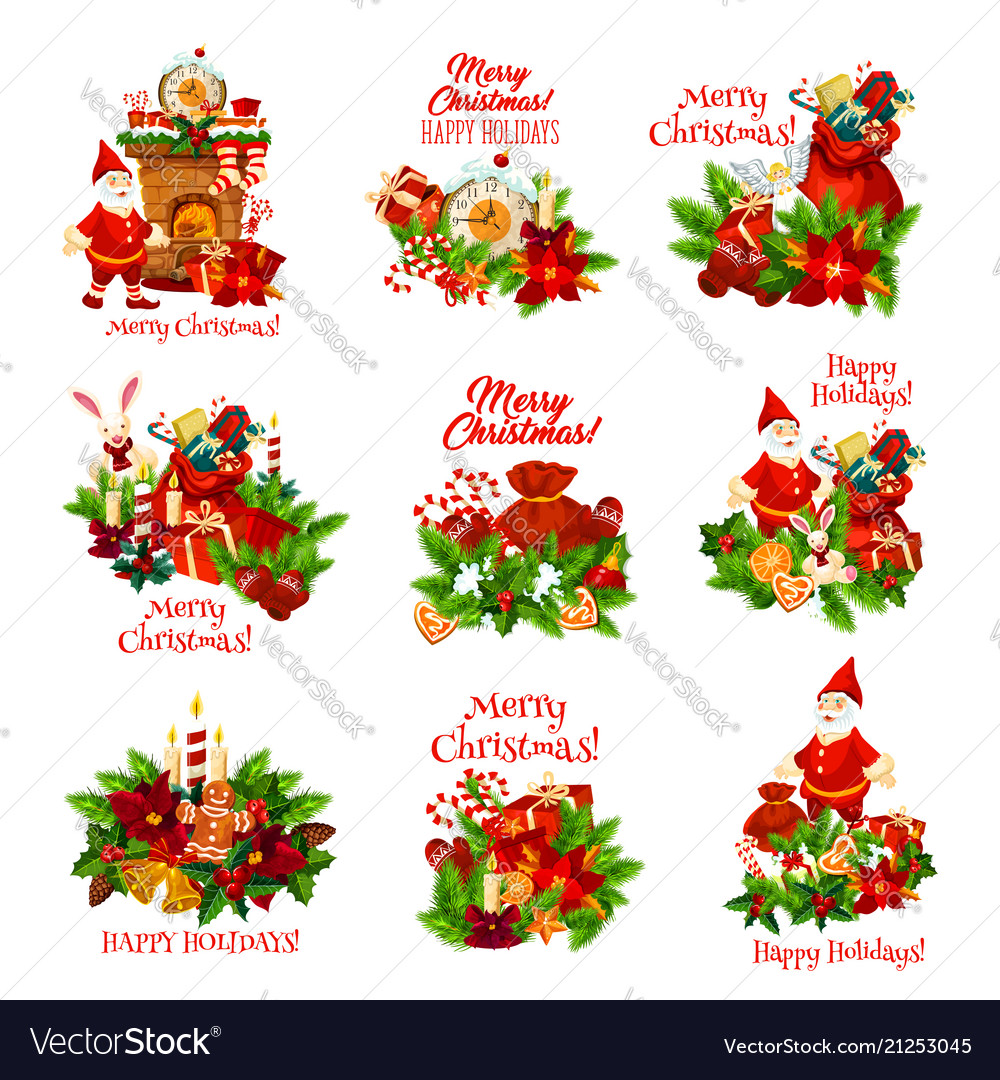 christmas holiday icon for happy new year card vector image