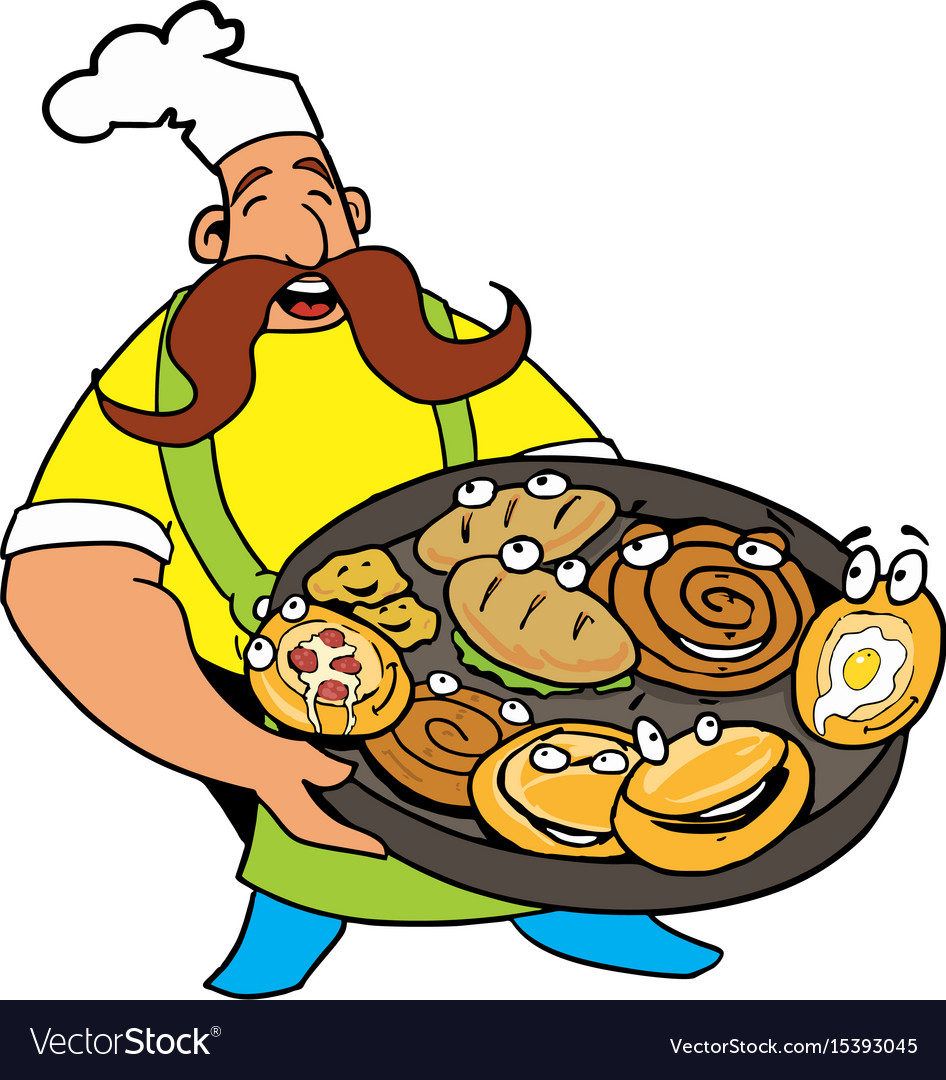 Comic cook with pizza and pie in the hands