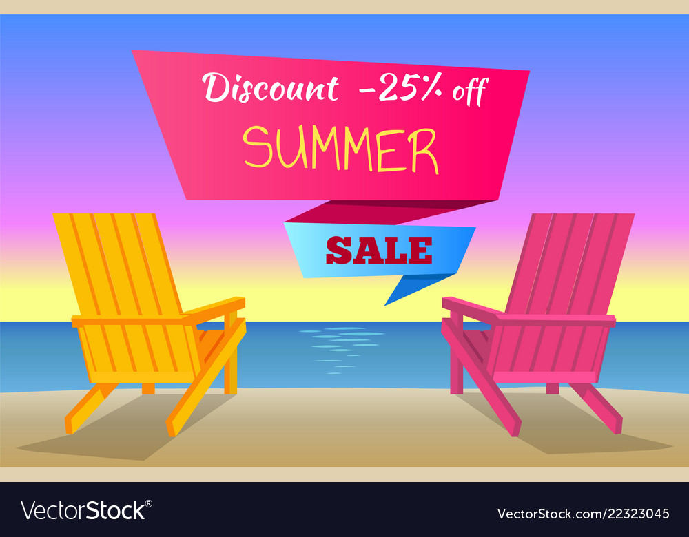 Discount -25 off summer sale poster with sunbeds