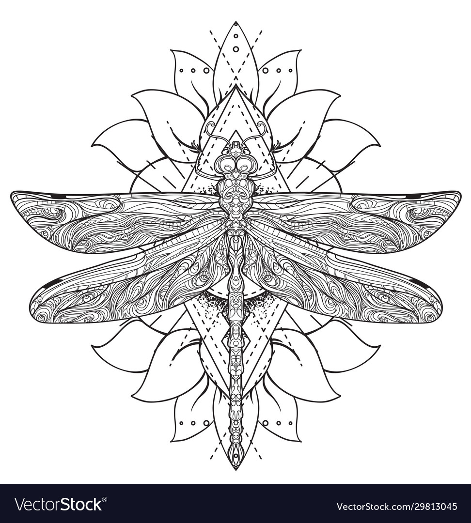 Dragonfly over sacred geometry sign isolated