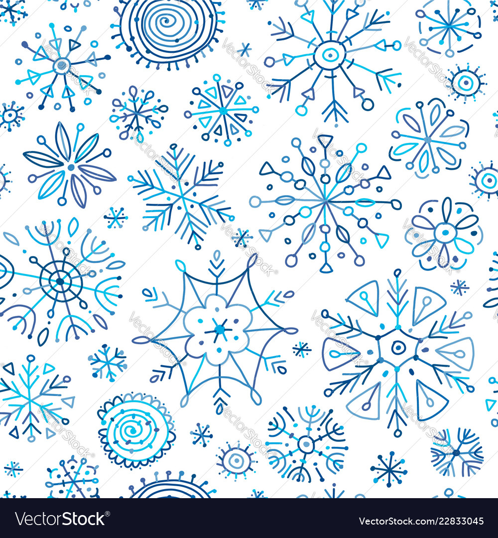 Hand drawn snowflakes seamless pattern for your