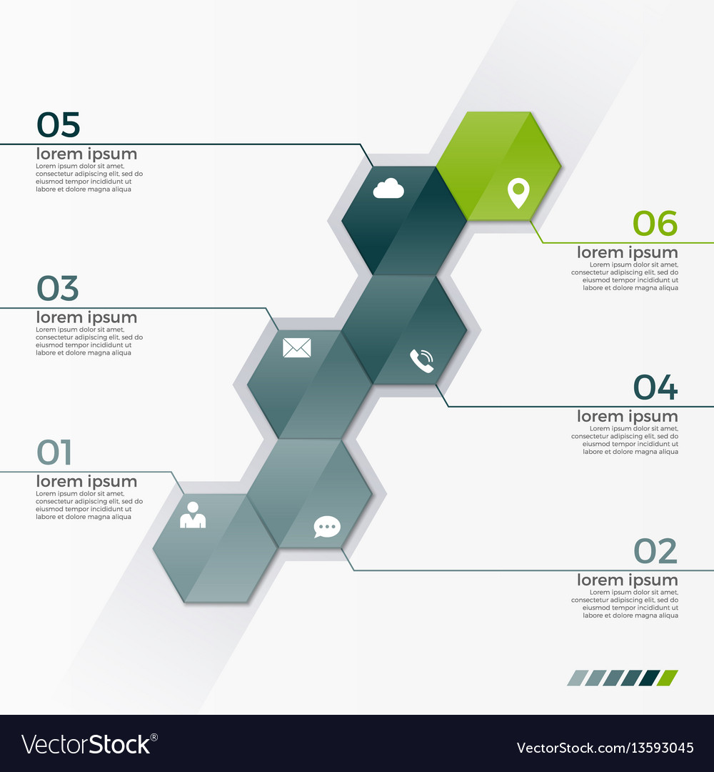 Infographic template with 6 hexagons