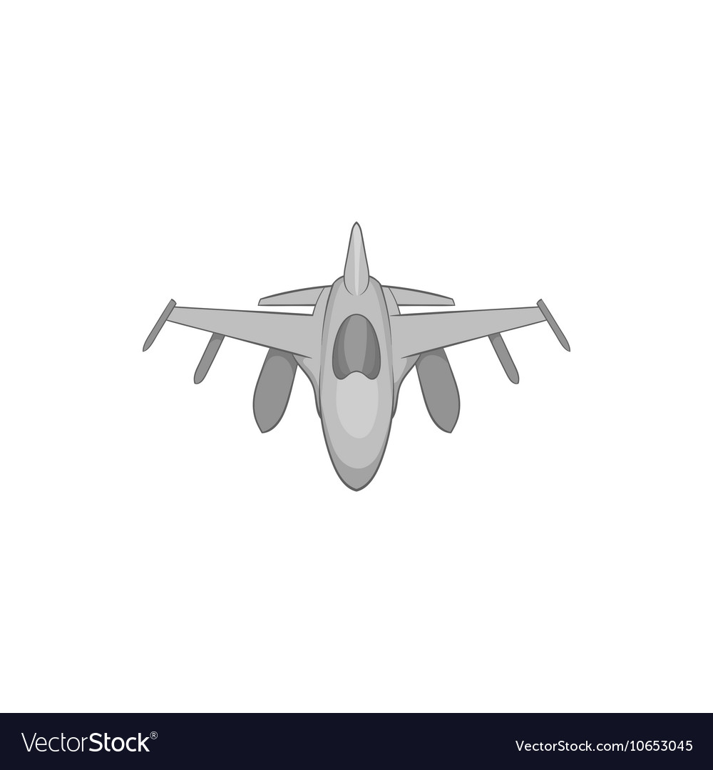 Military aircraft icon black monochrome style vector image