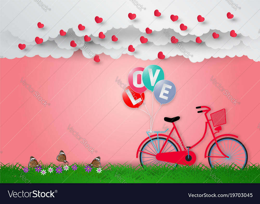 Paper art style of balloons with text love and
