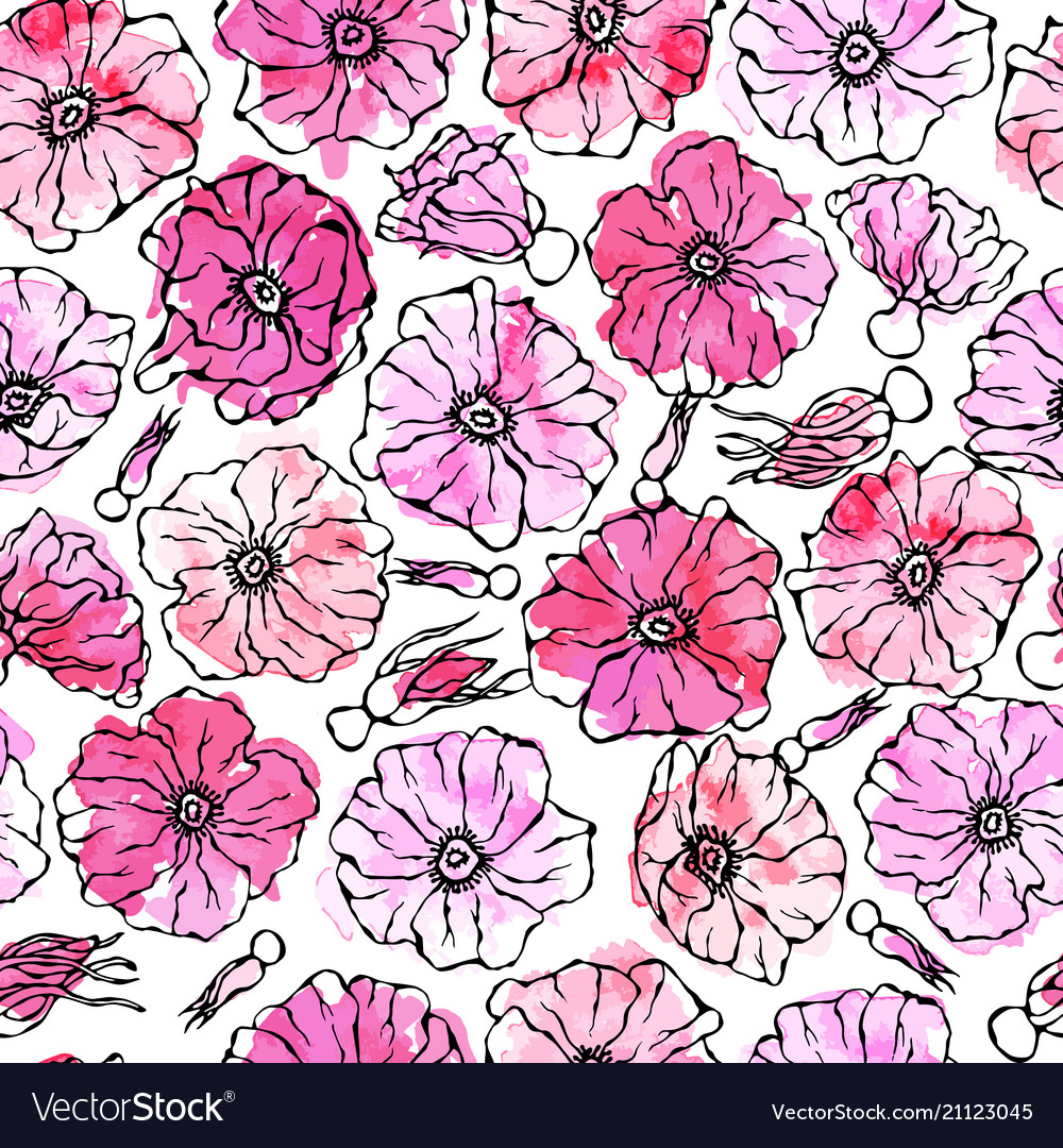 Seamless pattern watercolor wild rose pink flower