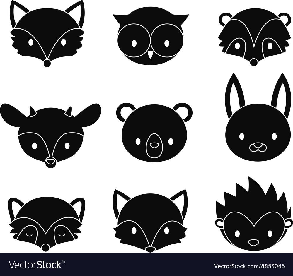 Set of cartoon woodland animals heads