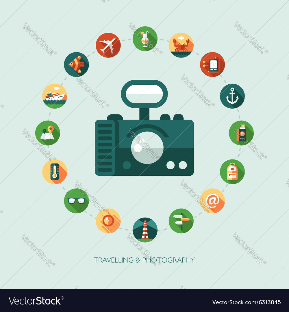 Set of modern flat design travel vacation vector image