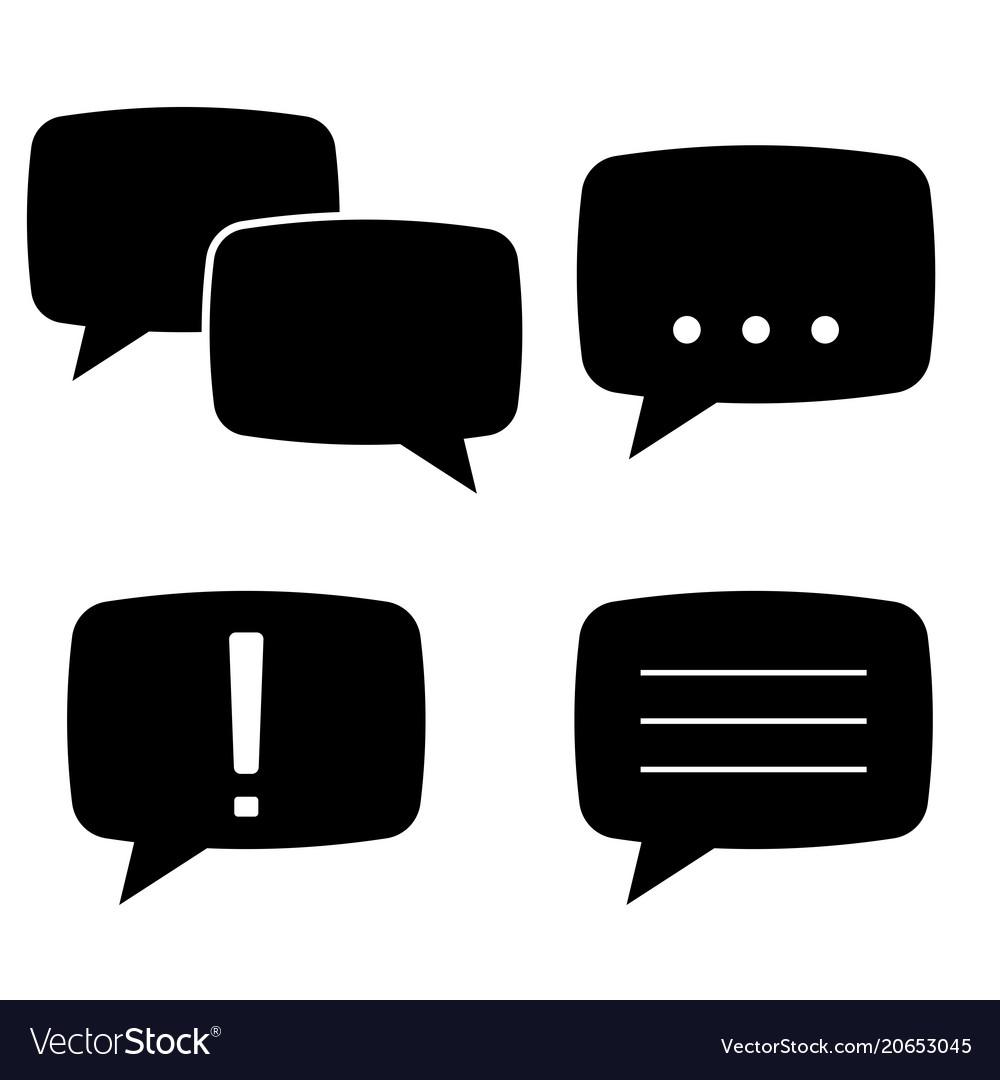 Speech bubbles flat black icons set
