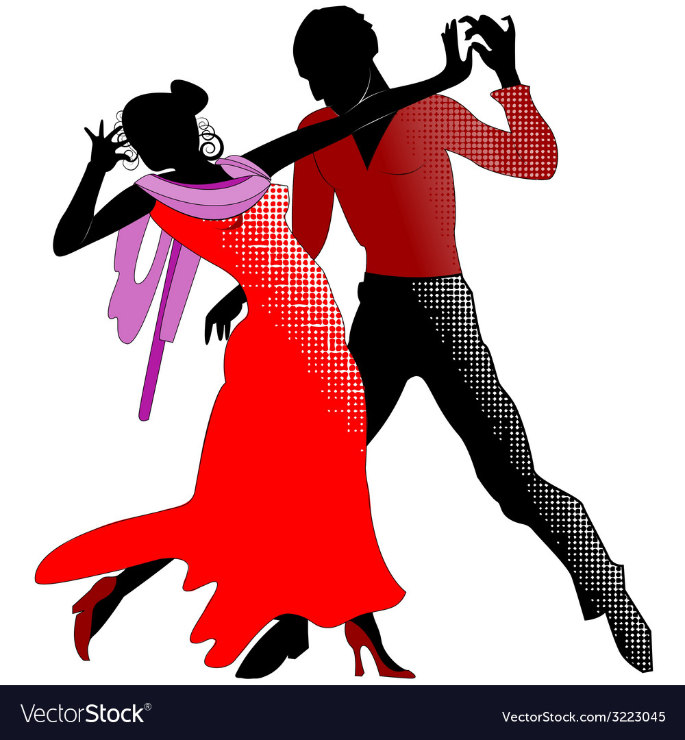 Tango silhouettes in red