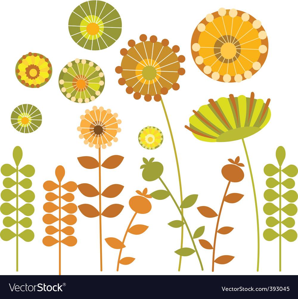 flower tattoo vintage design floral decoration elements stock vector