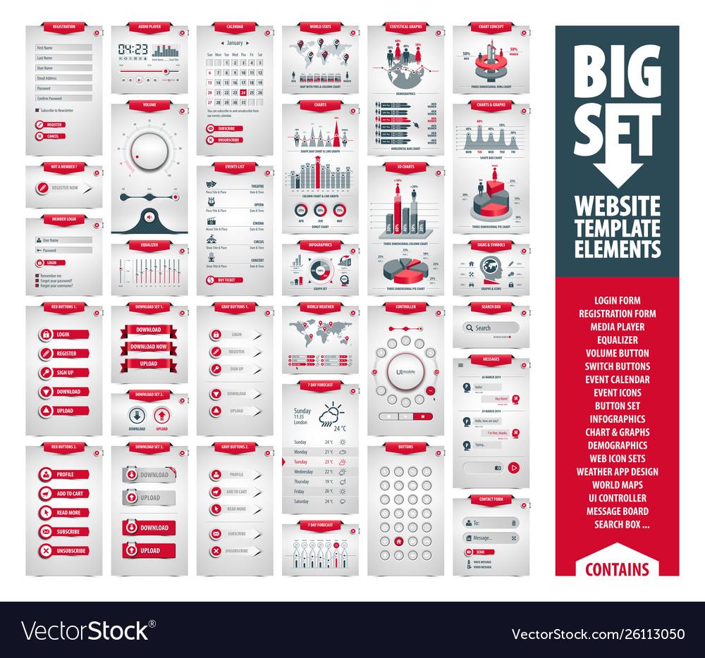 Big set website template elements