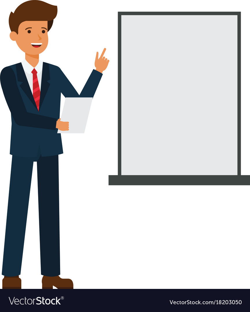Businessman Is Making Presentation Cartoon Flat Vector Image