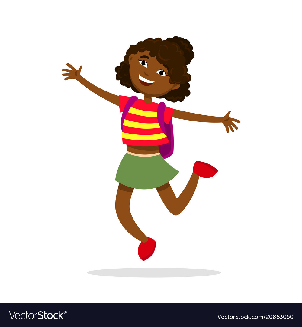 Cute afro american girl with a backpack jumping