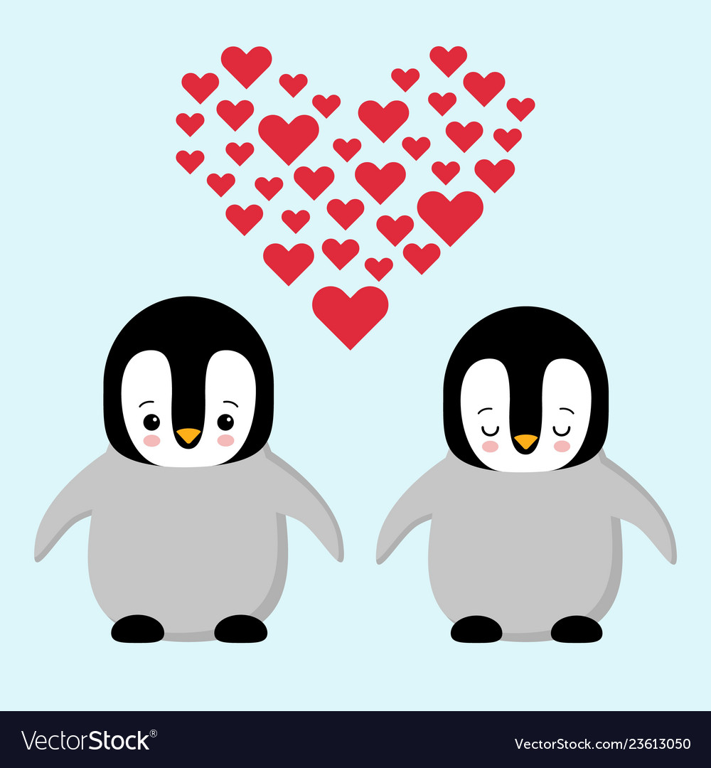 Happy valentines day couple in love penguins