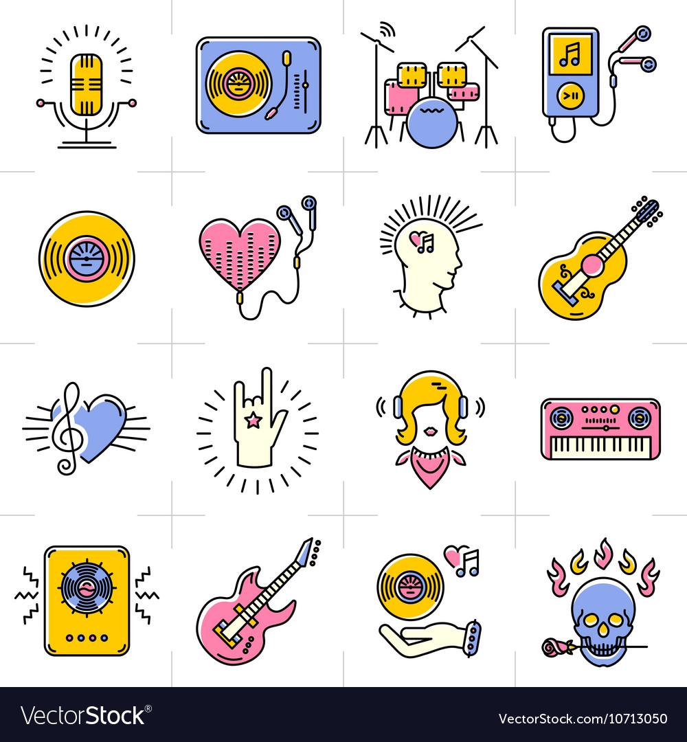 Line art music icons set Rock punk jazz symbols
