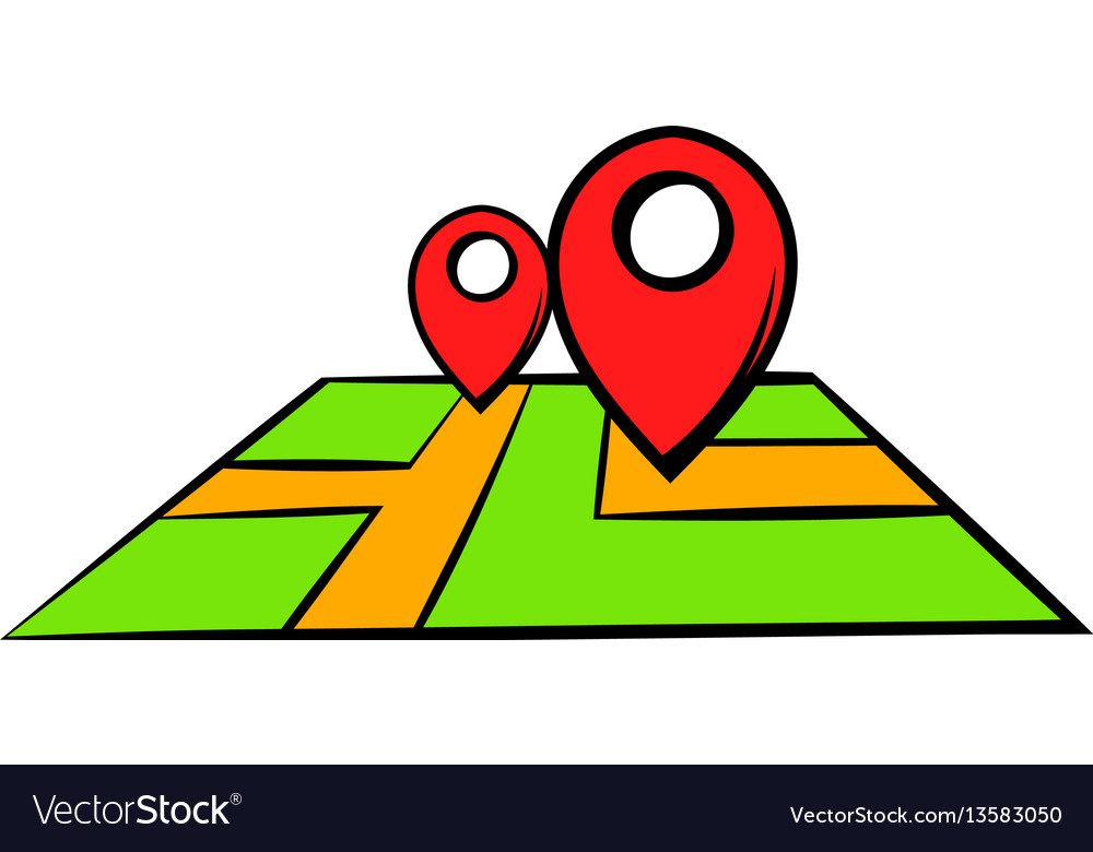 View Maps Cartoon Icon